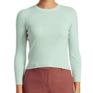 THEORY Green Refine Ribbed Merino Wool Sweater